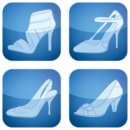 cobalt: Cobalt Square 2D Icons Set: Womans Shoes
