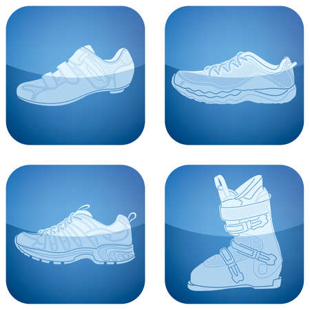 skying: Cobalt Square 2D Icons Set: Womans Shoes