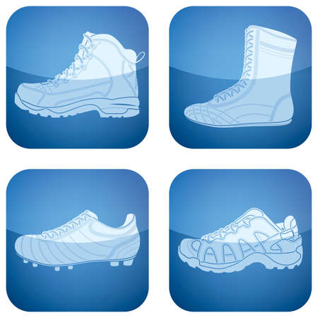 hiking boots: Cobalt Square 2D Icons Set: Womans Shoes