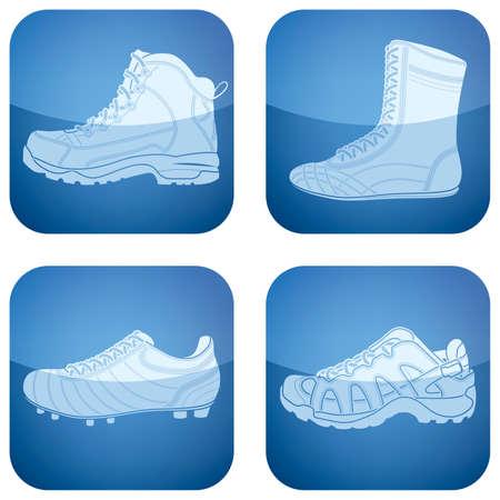 zapatos azules: Set de iconos 2D de cobalto Plaza: zapatos de mujer Vectores