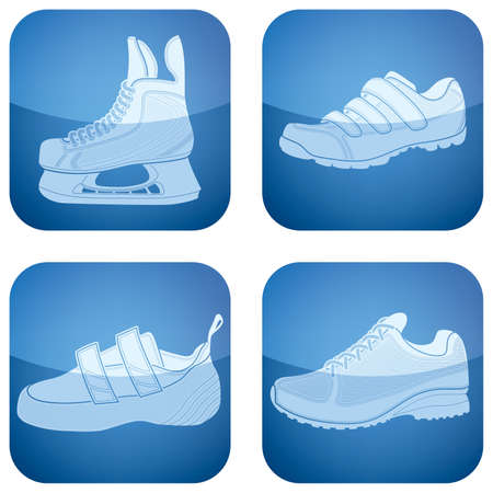Cobalt Square 2D Icons Set: Sport Shoes Vector