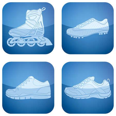 cobalt: Cobalt Square 2D Icons Set: Sport Shoes