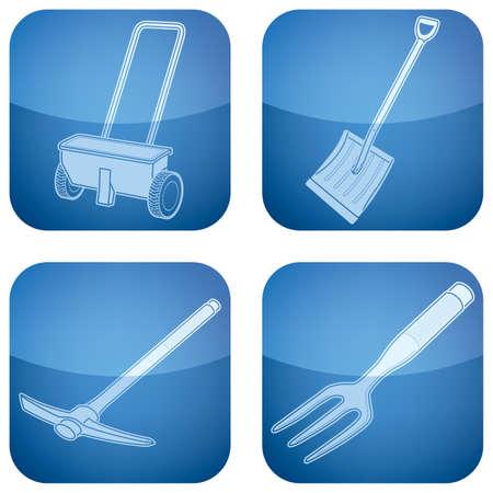 hand shovels: Cobalt Square 2D Icons Set: Garden Tools