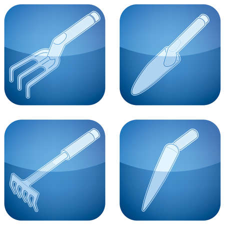 cobalt: Cobalt Square 2D Icons Set: Garden Tools