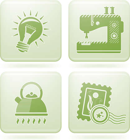 Olivine Square 2D Icons Vector