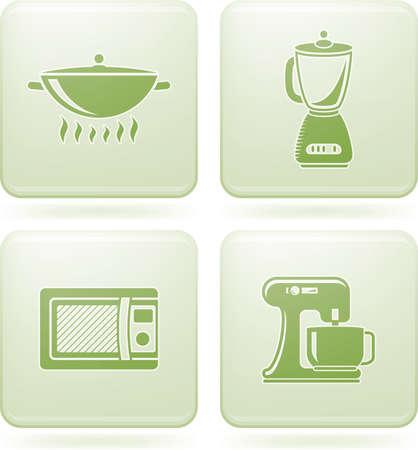 olivine: Olivine Square 2D Icons Set: Kitchen Utensils Illustration