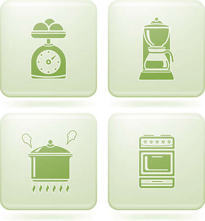 Olivine Square 2D Icons Set: Kitchen Utensils Stock Vector - 6771382
