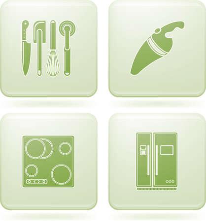 Olivine Square 2D Icons Set: Kitchen Utensils Stock Vector - 6769978