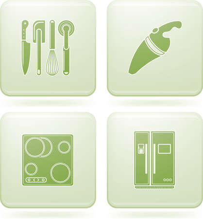 Olivine Square 2D Icons Set: Kitchen Utensils Stock Vector - 6769978