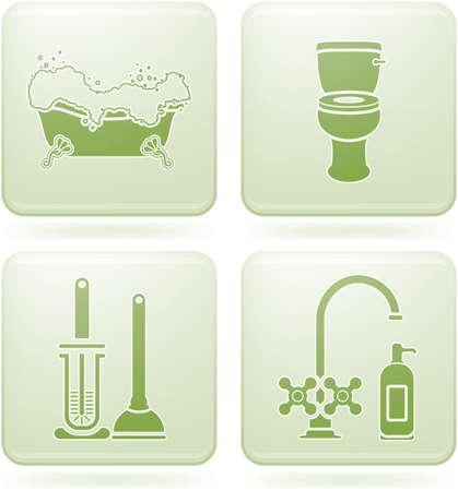Olivine Square 2D Icons Set: Bath Vector