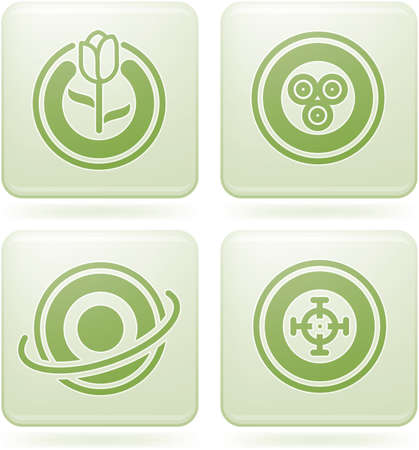 Olivine Square 2D Icons Set: Abstract