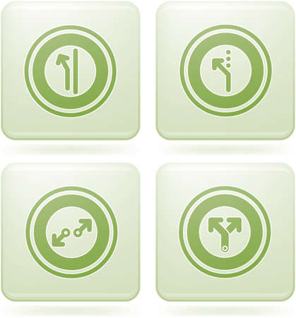 Olivine Square 2D Icons Set: Abstract & Directions Illustration