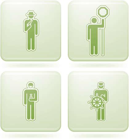 olivine: Set de iconos 2D de olivino Plaza: ocupaci�n Vectores