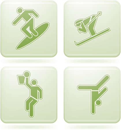 olivine: Conjunto de iconos 2D de olivino Square: Sport
