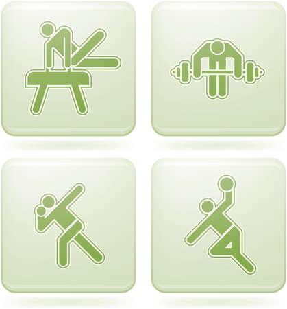 olivine: Olivine Square 2D Icons Set: Sport