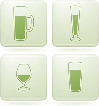 olivine: Olivine Square 2D Icons Set: Alcohol glass Illustration