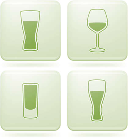 Olivine Square 2D Icons Set: Alcohol glass Vector