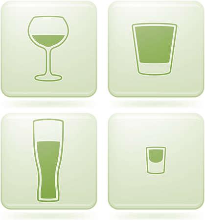 olivine: Set de iconos 2D de olivino Plaza: vidrio de alcohol Vectores