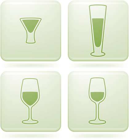 Olivine Square 2D Icons Set: Alcohol glass Illustration