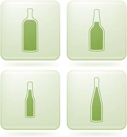 Cobalt Square 2D Icons Set: Alcohol bottles Vector
