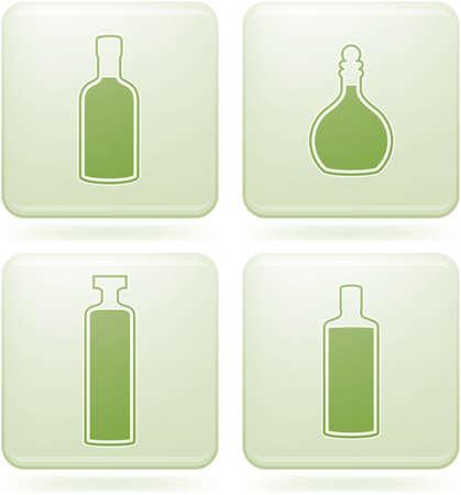 olivine: Conjunto de iconos 2D olivino Square: botellas de alcohol