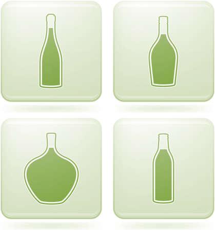 olivine: Set de iconos 2D de olivino Plaza: botellas de alcohol