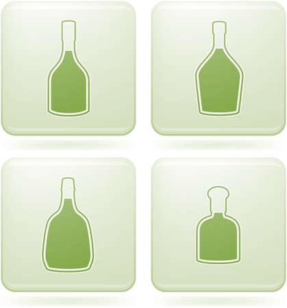 olivine: Olivine Square 2D Icons Set: Alcohol bottles