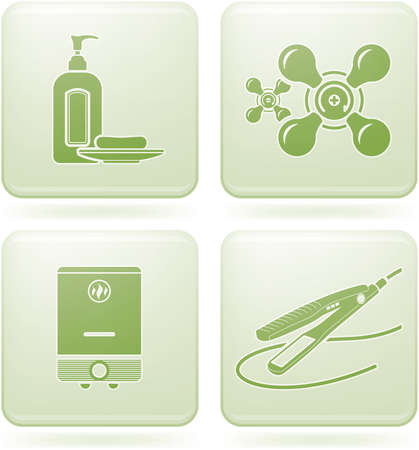 Cobalt Square 2D Icons Set: Bathroom Stock Vector - 6771546