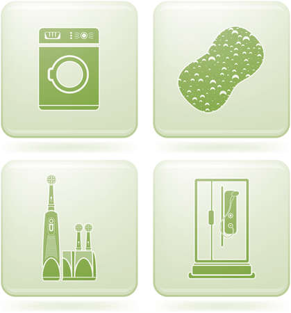 cobalt: Cobalt Square 2D Icons Set: Bathroom