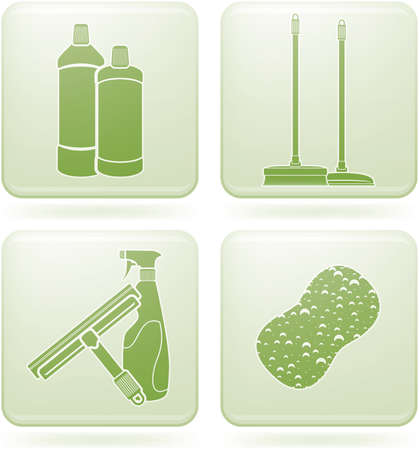 cleaning windows: Olivine Square 2D Icons Set: Cleaning Illustration