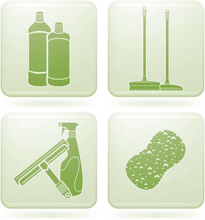 cleaning window: Set di Icone 2D Olivina Square: pulizia  Vettoriali