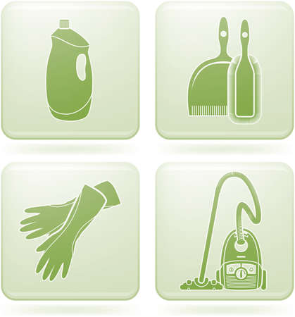 cleaner vacuuming: Olivine Square 2D Icons Set: Cleaning Illustration
