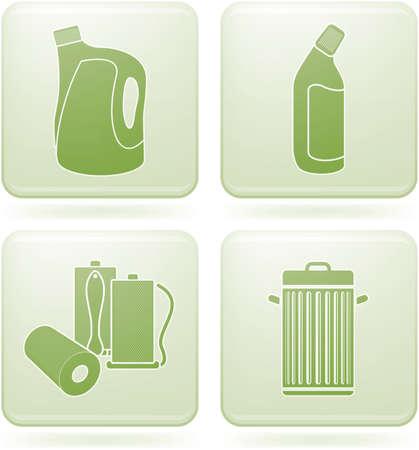 olivine: Olivine Square 2D Icons Set: Cleaning Illustration