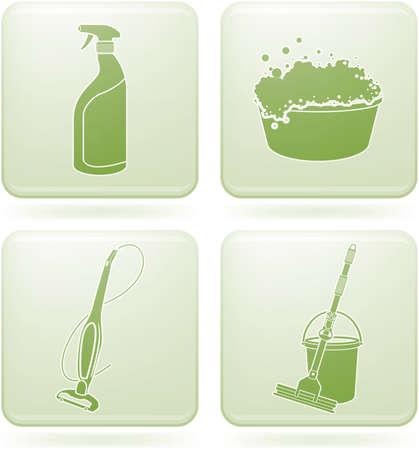 버킷: Olivine Square 2D Icons Set: Cleaning 일러스트