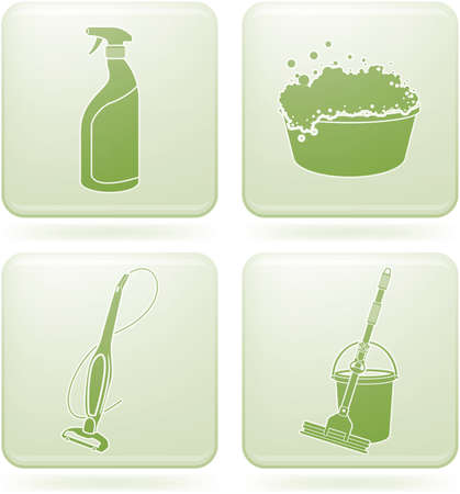 spazzatrice: Set di Icone 2D Olivina Square: pulizia  Vettoriali