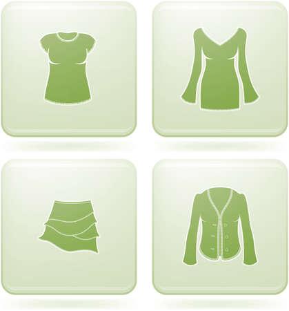 olivine: Set de iconos 2D de olivino Plaza: ropa de mujer