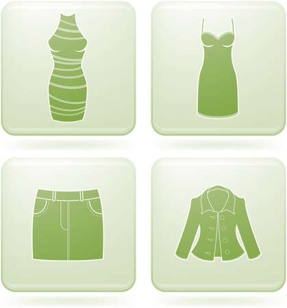 olivine: Conjunto de iconos 2D de olivino Square: ropa de la mujer