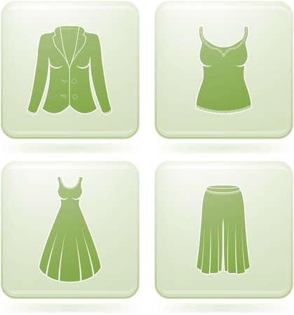 olivine: Olivine Square 2D Icons Set: Womans Clothing