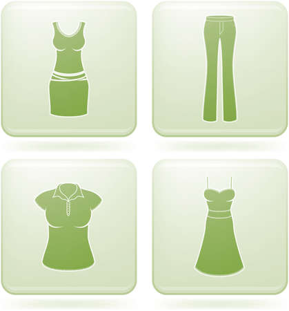 Olivine Square 2D Icons Set: Womans Clothing