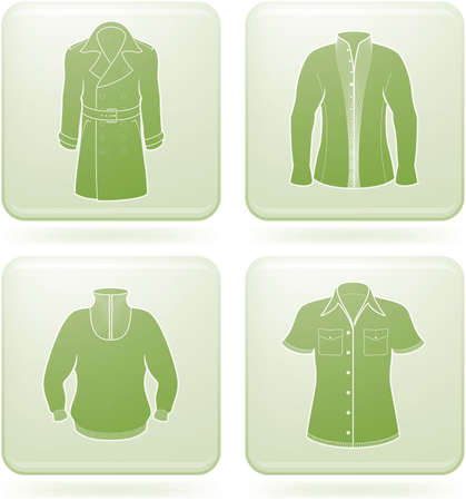 olivine: Conjunto de iconos 2D de olivino Square: ropa de hombre