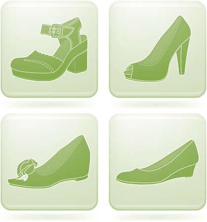 olivine: Conjunto de iconos 2D de olivino Square: zapatos de mujer  Vectores