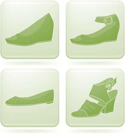 olivine: Olivine Square 2D Icons Set: Womans Shoes Illustration