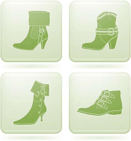 Olivine Square 2D Icons Set: Womans Shoes Illustration