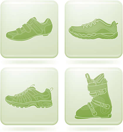 wanderstiefel: Olivin Square 2D Icons Set: Sportschuhe