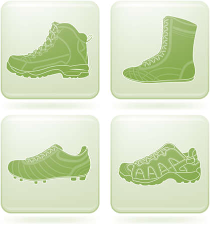 hiking boots: Olivine Square 2D Icons Set: Sport Shoes