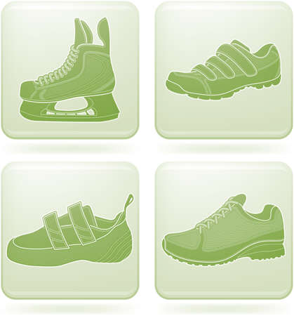 olivine: Conjunto de iconos 2D de olivino Square: Zapater�a Deportiva