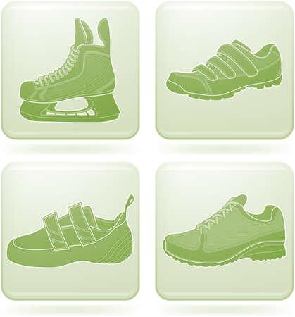 Olivine Square 2D Icons Set: Sport Shoes Vector