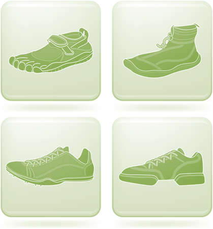 olivine: Olivine Square 2D Icons Set: Sport Shoes