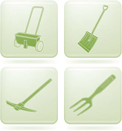 olivine: Olivine Square 2D Icons Set: Garden Tools