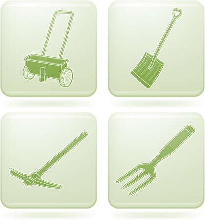 olivine: Set de iconos 2D de olivino Plaza: herramientas de jard�n Vectores